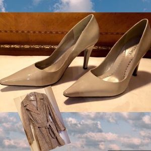 J Renee 12 w NWOT Taupe Patent Leather Pumps